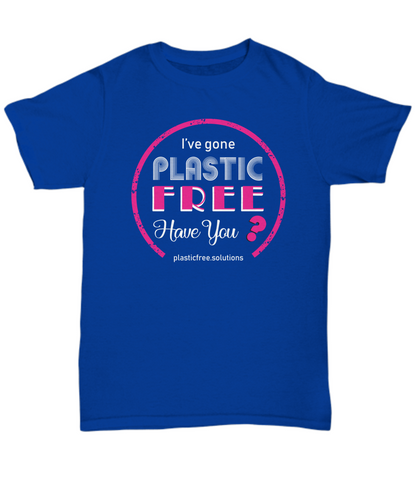 I've Gone Plastic Free T-shirt - Blue With Pink Logo