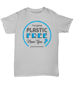 I've Gone Plastic Free T-Shirt - Grey With Blue Logo