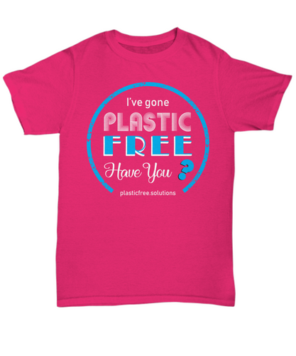 I've Gone Plastic Free T-shirt - Pink With Blue Logo