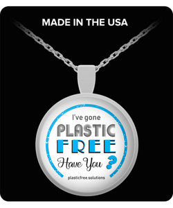 I've Gone Plastic Free Necklace With Blue Logo