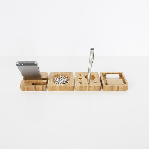 Square Bamboo Office Desk Organisers
