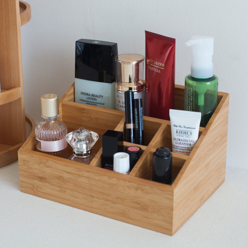 Bamboo Storage Box With 6 Compartments