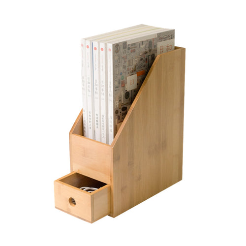 Bamboo Office File Organiser with Drawer