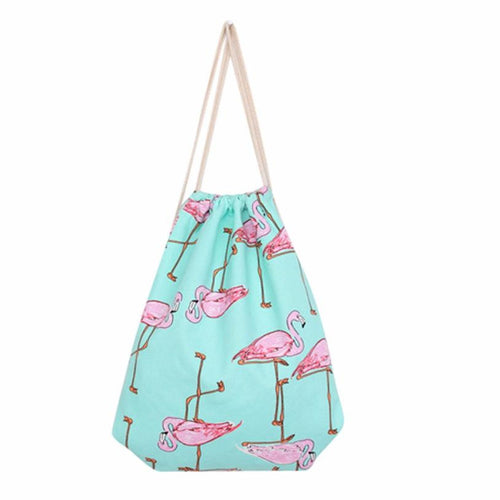 Flamingos Drawstring Backpack Shopping Bag