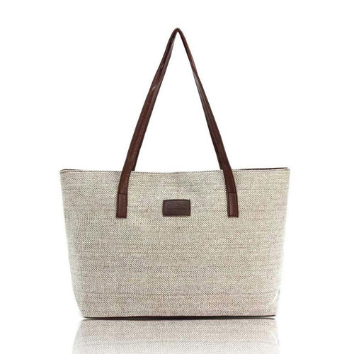 Linen Effect Canvas Reusable Shopping Bag