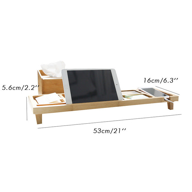 Bamboo Neck Protective Office Desk Organizer Ipad Holder
