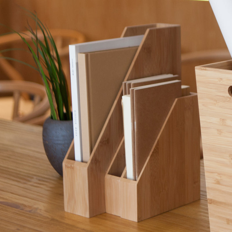 Minimalist Bamboo Office Desktop File Storage Boxes