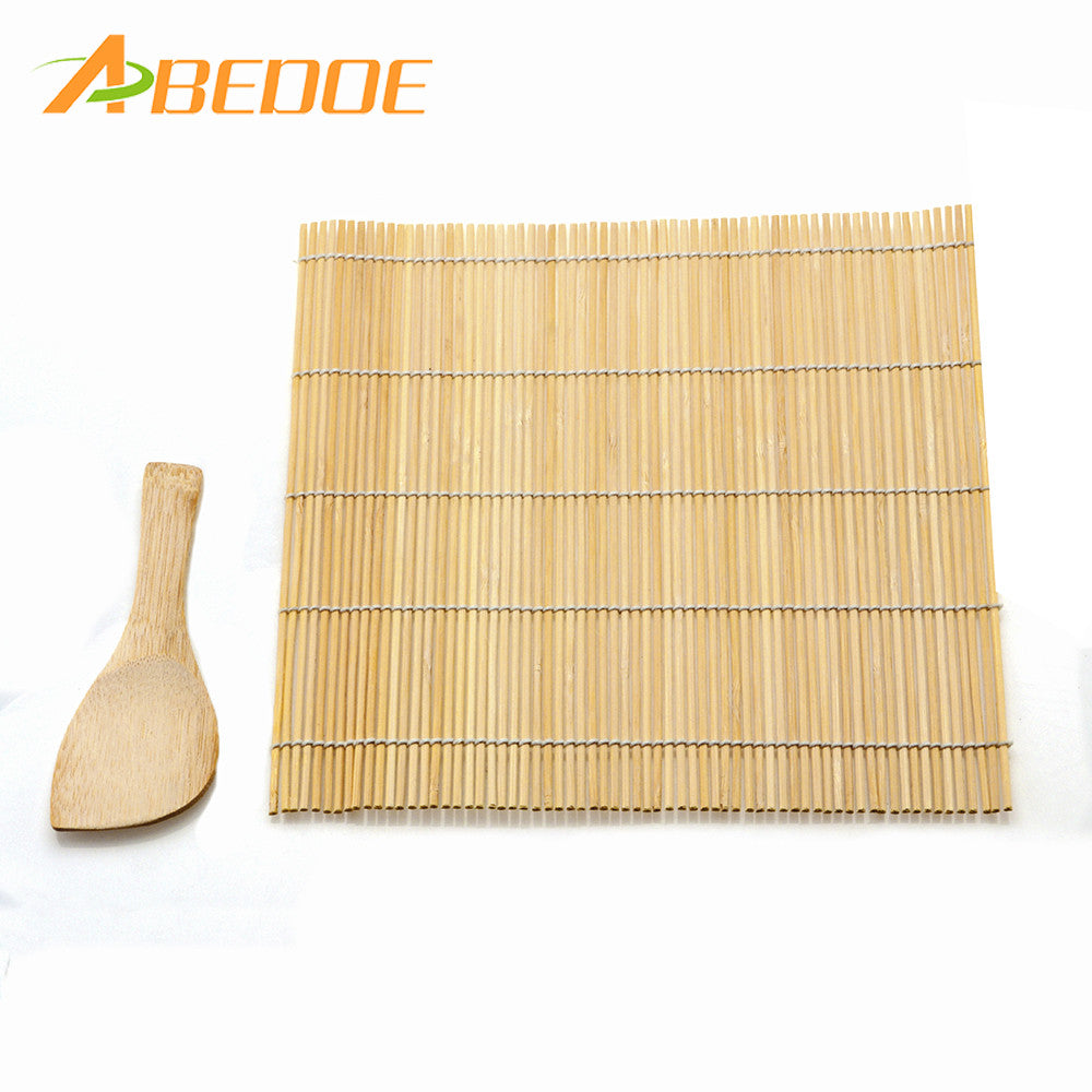 Bamboo Sushi Rolling Mat and Rice Paddle