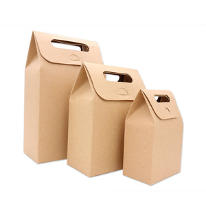 10 x Kraft Paper Candy Boxes With Notch Handles