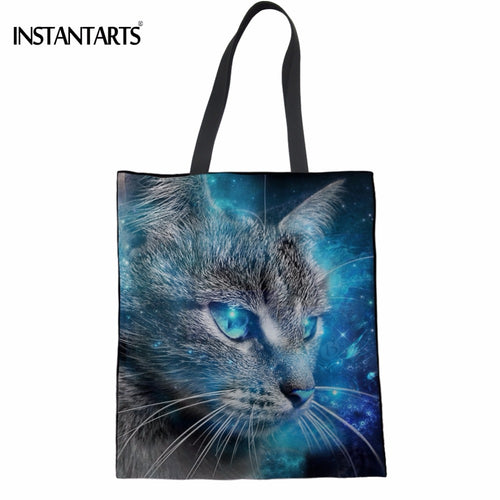 Universe Cat Print Shopping Tote Bag