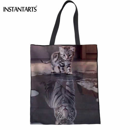 Cat Tiger Reflection Shopping Bag