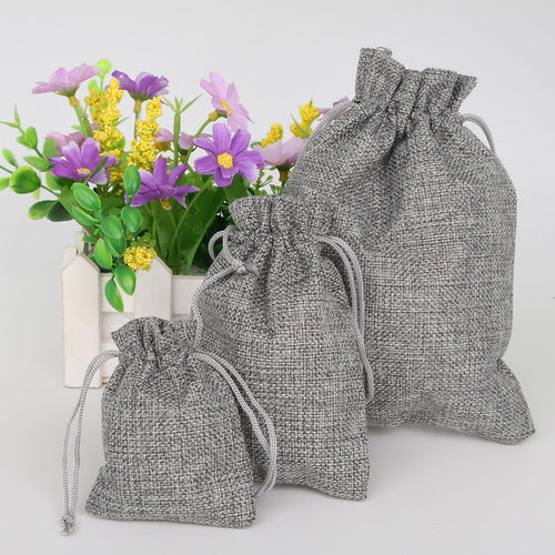 Gray Linen Gift Bags For Wedding Party Favours and Party Gifts
