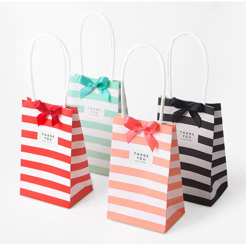 10 x Stripy Gift Bags with Handles