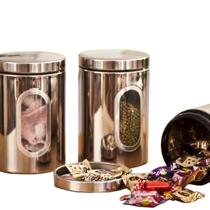 HOT 3pcs Stainless Steel Window Canister Tea Coffee Sugar Nuts Jar Storage Set (silver)