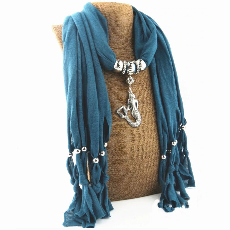 Boho Scarf With a Mermaid Pendant blue