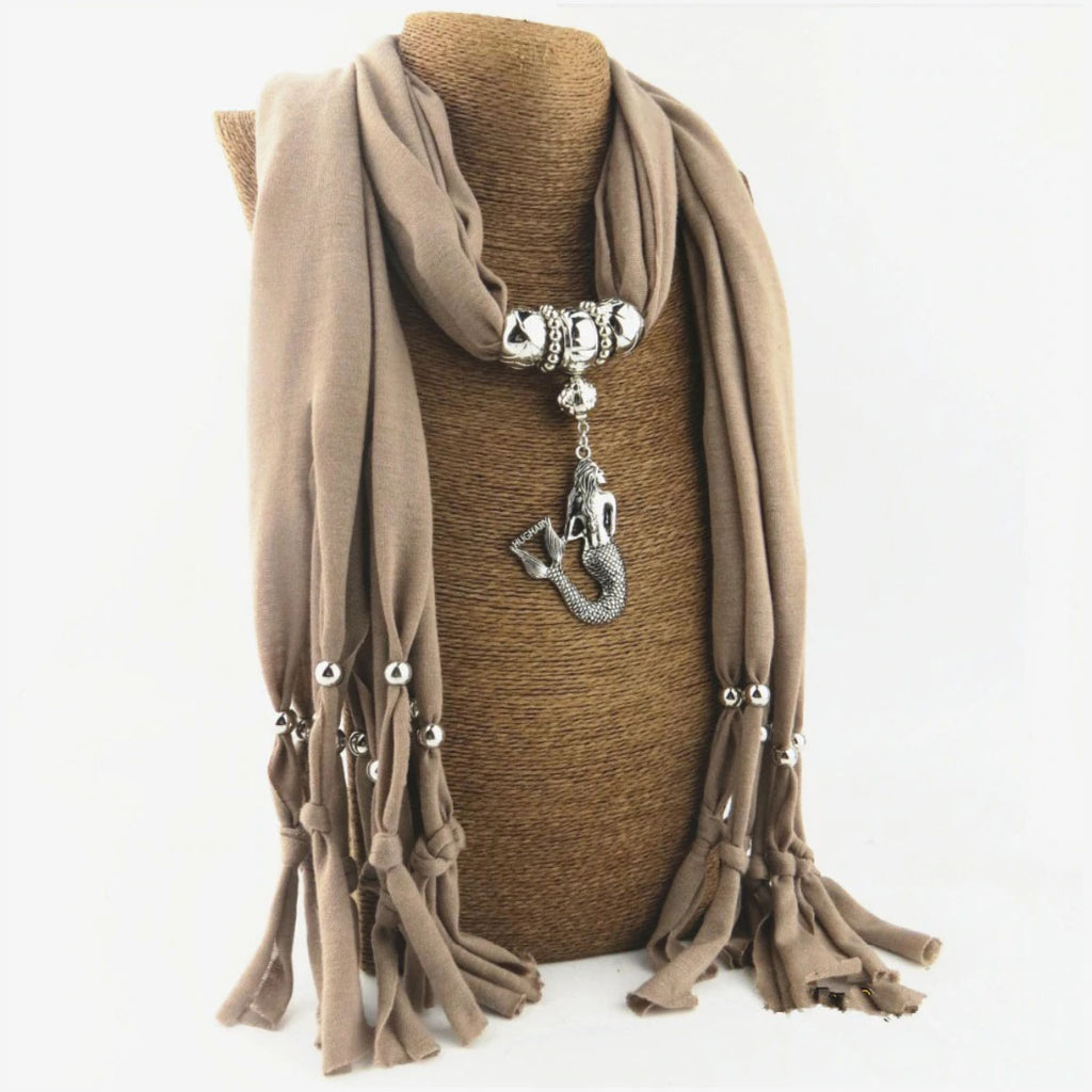 Boho Scarf With a Mermaid Pendant beige