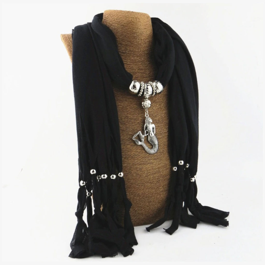 Boho Scarf With a Mermaid Pendant black