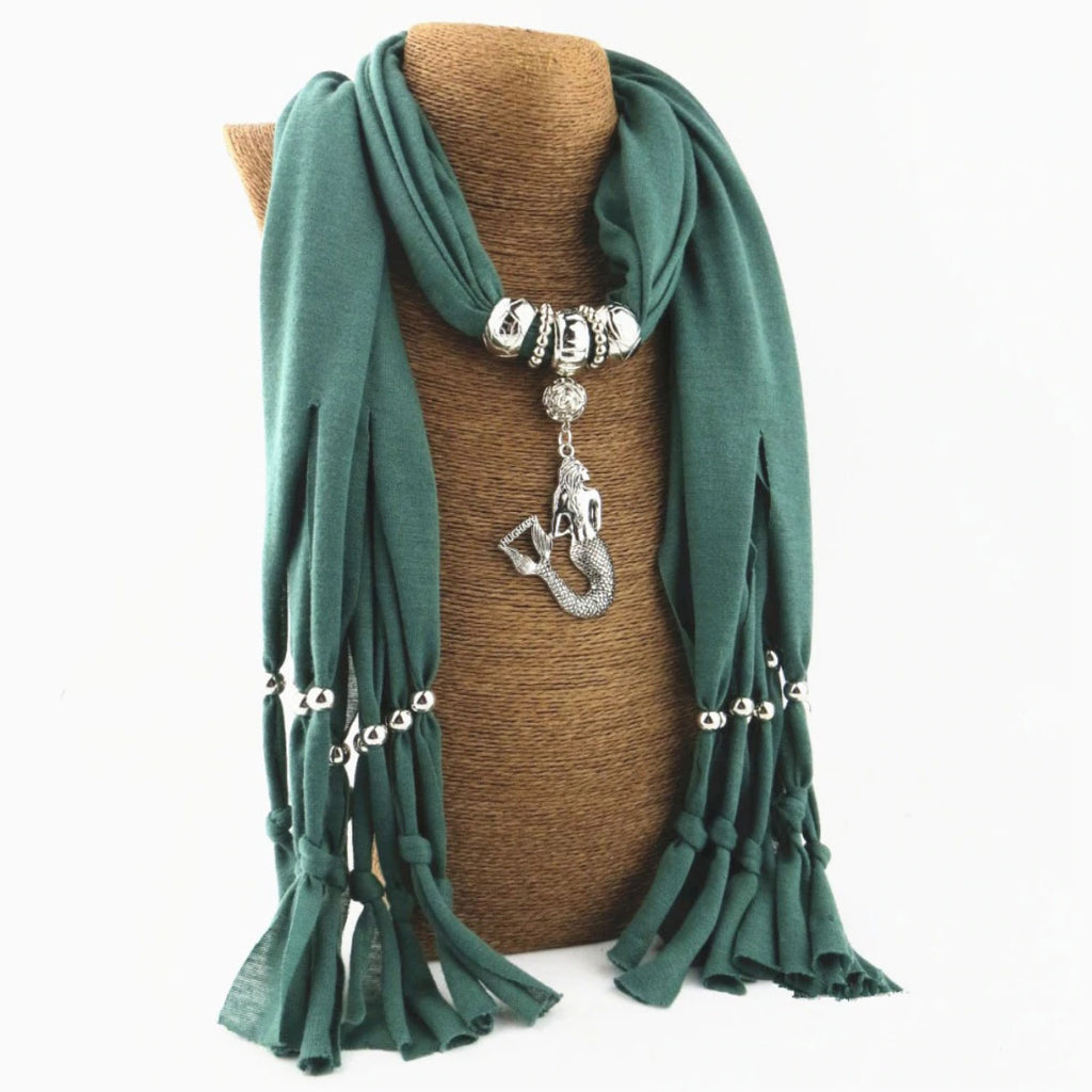 Boho Scarf With a Mermaid Pendant green