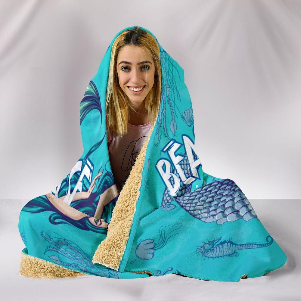 Beach Please I'm A Mermaid Hooded Blanket