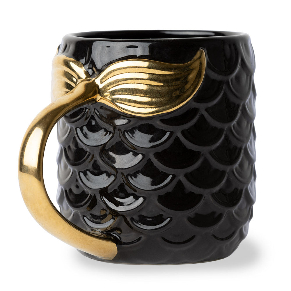 Seas The Day Mermaid Gold Tail Mug BLACK