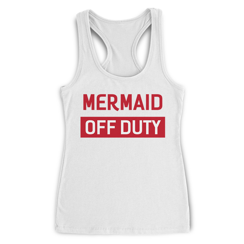 Mermaid Off Duty White Racerback Tank Top Lady