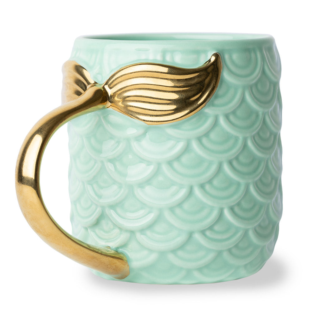 Seas The Day Mermaid Gold Tail Mug Tourquise