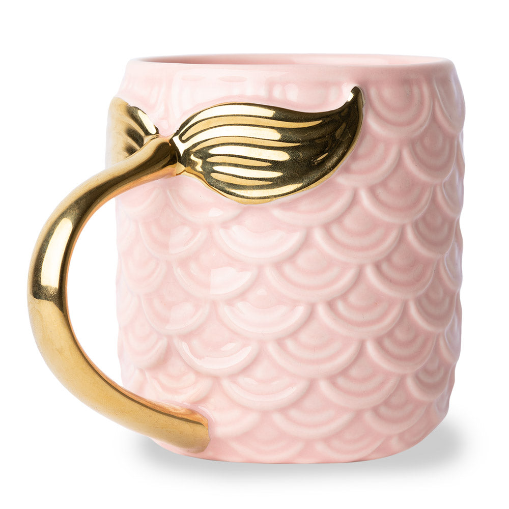 Seas The Day Mermaid Gold Tail Mug Pink