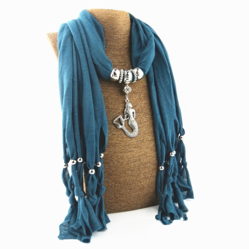 Boho Scarf With a Mermaid Pendant