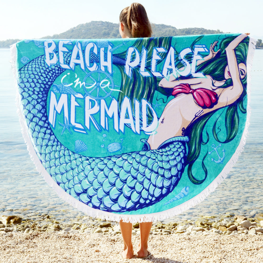 Beach Please I'm A Mermaid Round Towel