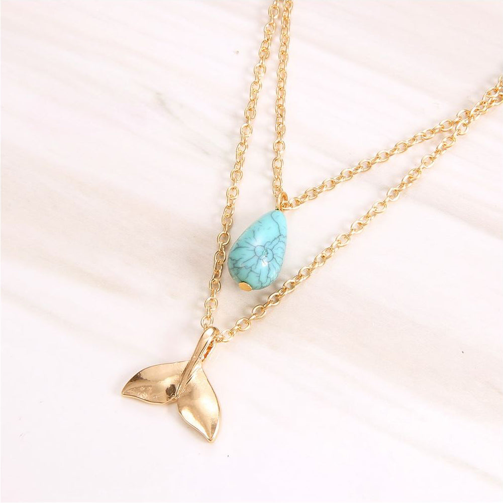 Mermaid Gold Tail and Water Droplet Necklace