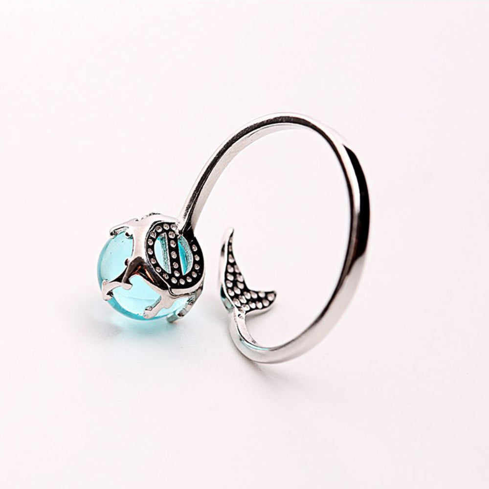 Ocean Blue Mermaid Ring With Crystal Sterling silver back