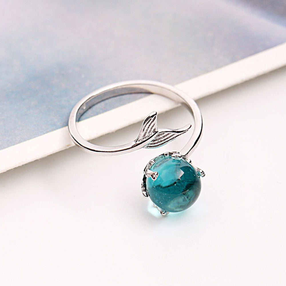 Ocean Blue Mermaid Ring With Crystal 925 front