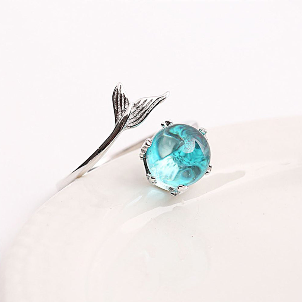 Ocean Blue Mermaid Ring With Crystal Sterling silver side