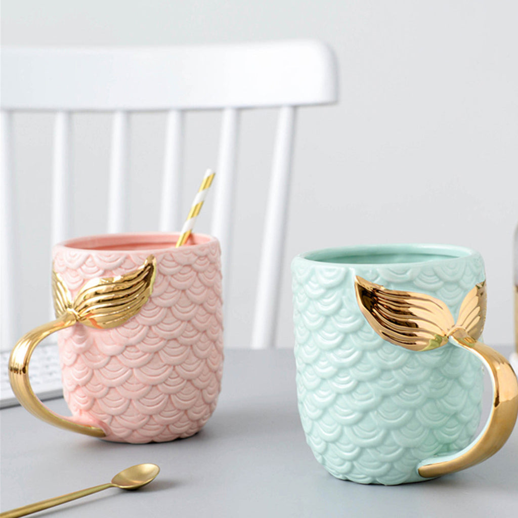 mermaid, mug, gold tail, pink, ceramic