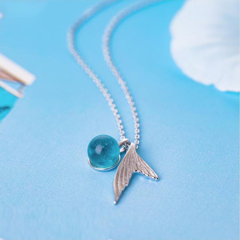 Blue Crystal Mermaid Necklace 925 Sterling Silver