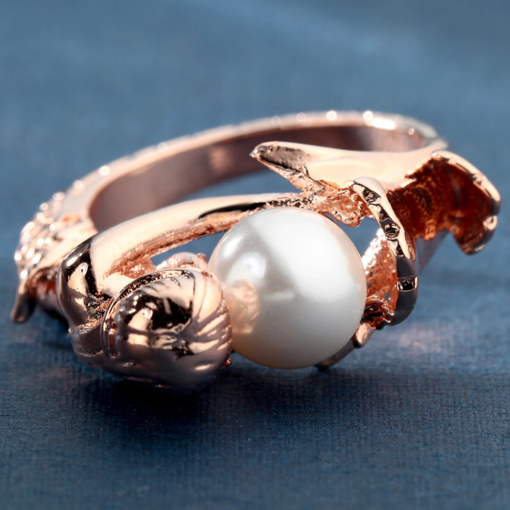 Rose Gold Mermaid With a Pearl Ring