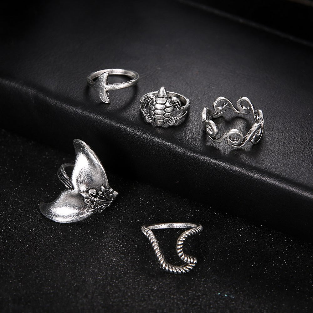 Bohemian Mermaid Rings Set tail wave