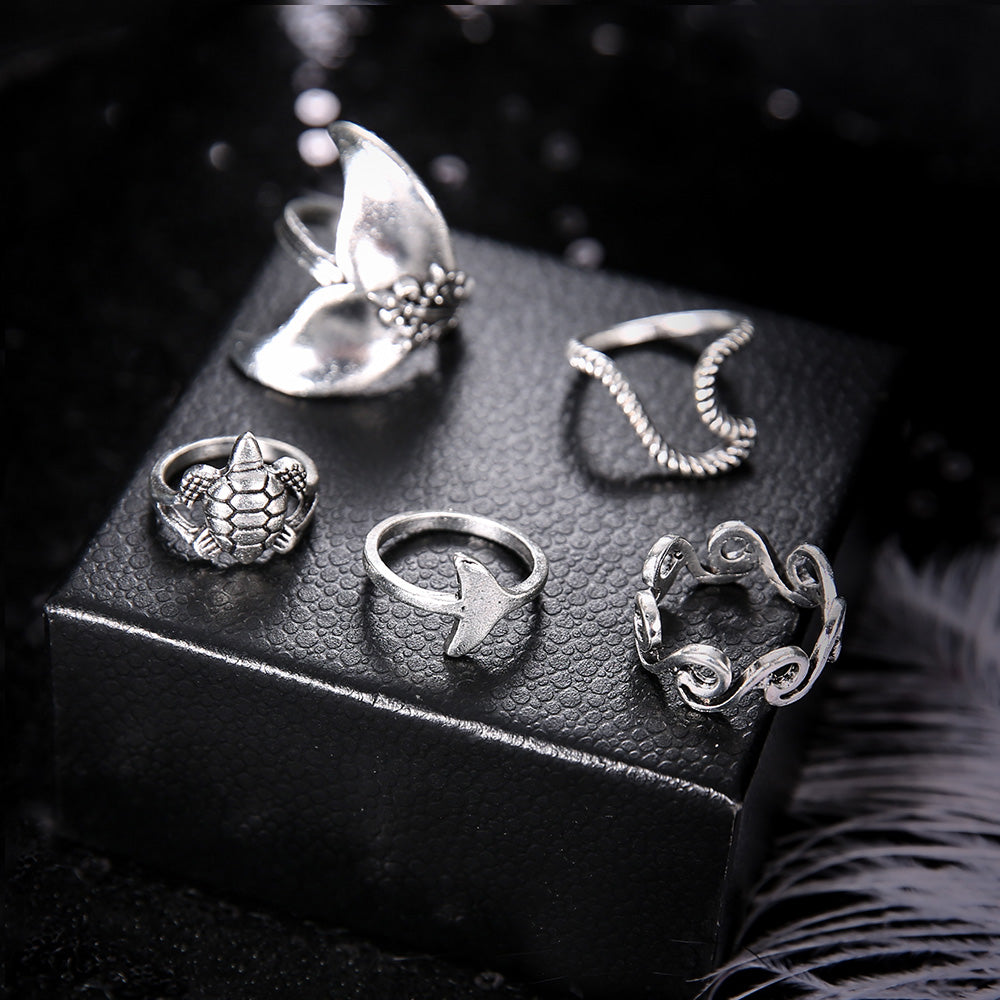 Bohemian Mermaid Rings Set