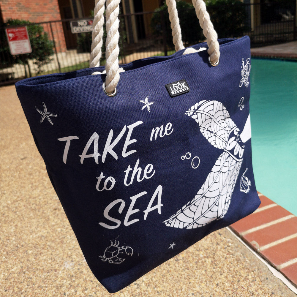 Take Me To The Sea Mermaid Beach Bag