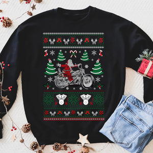 Biker Santa D1 - Mens Funny Xmas Sweatshirt Indian Motorcycles Motorbike Jumper - Funny sweatshirt gifts christmas ugly sweater for men and women