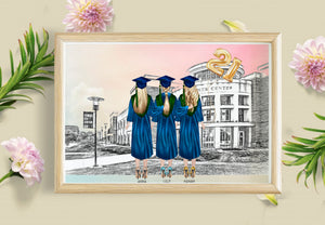 Personalized Picture Personalised Besties Graduation Print Gift, Graduation Gift Ideas, Personalised Gifts for Friends, Gift for Her, Customised Graduation Cards