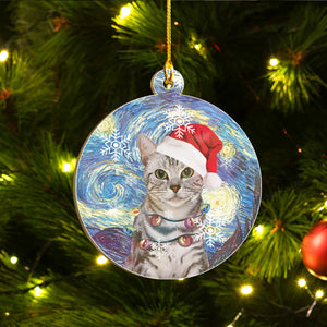 American Shorthair Cat Ornaments Set, Meowy Christmas Ornaments Set, Funny Xmas Ornaments Family Gift Idea For Cat Lover