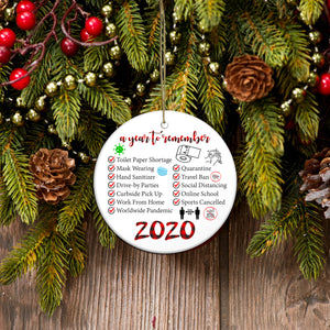 A year to remember ornament, toilet paper 2020 ornament, funny Merry Christmas family gift idea