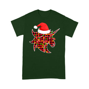 Christmas Unicorn Red Buffalo Plaid Family Tee Tee Shirt Gift For Christmas