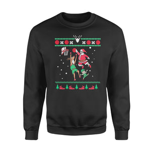 Slam dunk Santa playing - funny sweatshirt gifts christmas ugly sweater for men and women