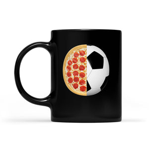 Pizza & Soccer Print Graphic - Funny Pizza & Soccer Lovers  Black Mug Gift For Christmas