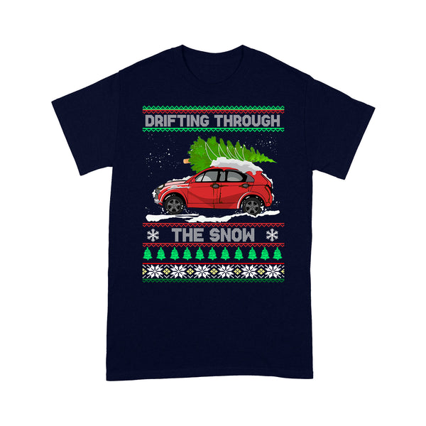 Ugly Christmas Drifting Through The Snow Funny Sweater - Standard T-shirt  Tee Shirt Gift For Christmas