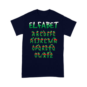 Funny Christmas Elf Outfit - Elfabet Alphabet Pun Tee Shirt Gift For Christmas