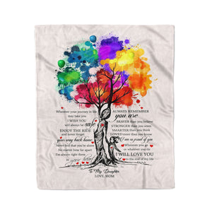 To my daughter wherever your journey in life may take you personalized fleece blanket gifts custom christmas blanket