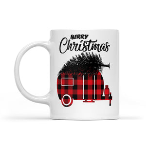 Red Buffalo Plaid Merry Christmas Gift For Camping Lovers Long Sleeve T-shirt -   White Mug Gift For Christmas